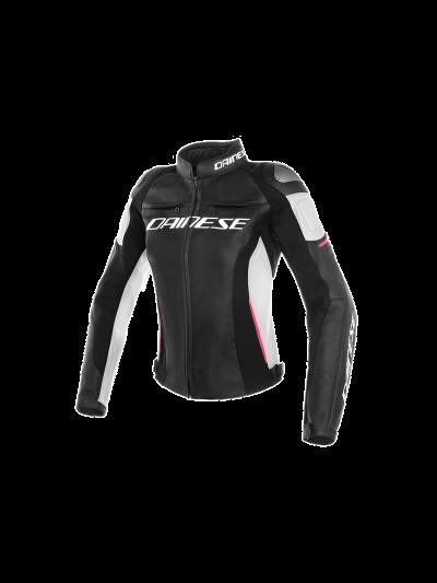 DAINESE RACING 3 Lady ženska usnjena motoristična jakna - črna/bela/fuksija