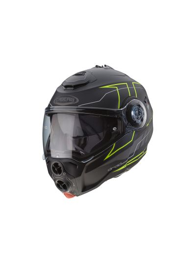 CABERG DROID BLAZE Motoristična preklopna čelada - mat črna/fluo
