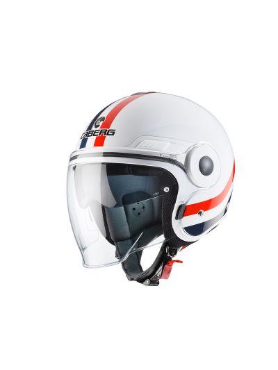 CABERG UPTOWN CHRONO - Motoristična odprta čelada - bela / modra / rdeča