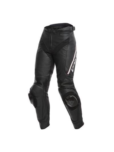 DAINESE DELTA 3 Lady usnjene ženske motoristične hlače - črne/bele