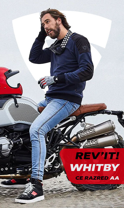 Man on motorcycle in blue sweater Rev'it! Whitby